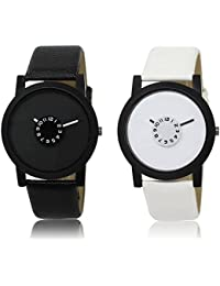 AJ Stylish Black & White Primium Analog Watch - For Men