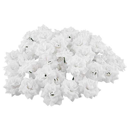 Wifehelper 50pcs teste di rosa artificiali fiori finti testa per la festa nuziale casa fai da te decor sposare regalo festa della mamma(bianco)