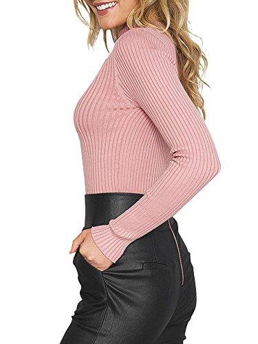 Simplee Apparel Damen Elegant Heiß Langarm Choker V-Ausschnitt Gestrickt Shirt hell rasa