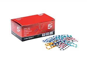 5 Star Zebra Paperclips Length 28mm Assorted [Pack of 150]