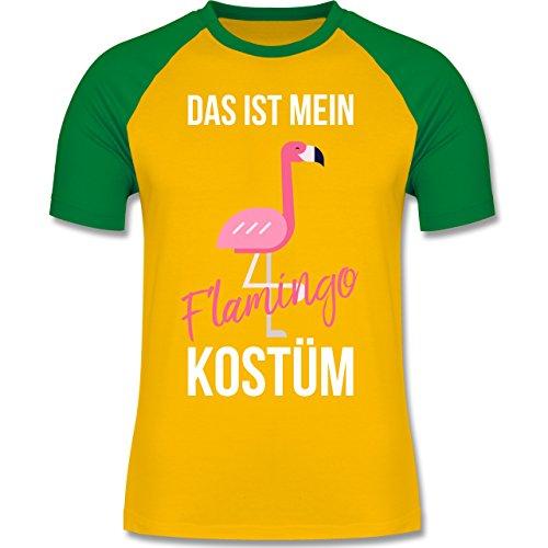 Shirtracer Karneval & Fasching - Das ist Mein Flamingo Kostüm - Herren  Baseball Shirt Gelb/
