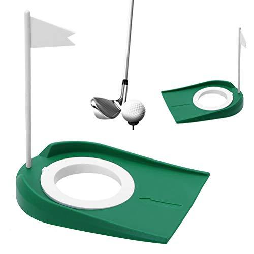 Rivadal 2 Stück Golf Putting Cup mit Loch und Flagge Golf Putter Praxis Return Ball Trainingshilfen -