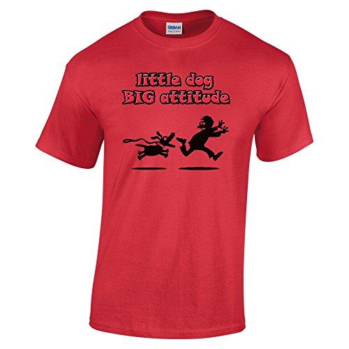 Divertente 080, Little Dog Big Attitude, Red Gildan Heavy Cotton Youth T-shirt Rosso Bambino Ragazze Maglietta Kids Girls Tee Top con Design Colorato. Taglia Small, 5-6 Anni.