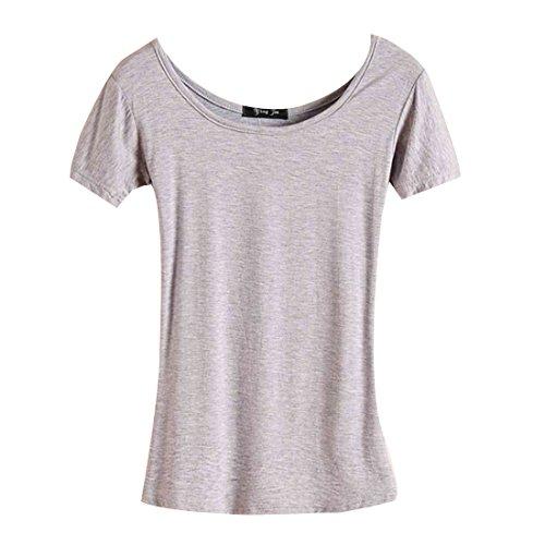 QIYUN.Z Les Femmes De La Mode Couleur Unie O Encolure Mince Talonnage Hoody T-Shirts Tees Gris