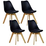 WOLTU 4er Set Esszimmerstühle Küchenstuhl Design Stuhl Esszimmerstuhl Kunstleder Holz Neu Design Schwarz BH29sz-4