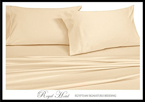 Ivory King-spannbetttuch (Royal Hotel Fadenzahl 1000 Bed Sheet Set 100% Baumwolle, Baumwoll-Satin-Gewebe, deep Pocket, baumwolle, Solid Ivory, California King)