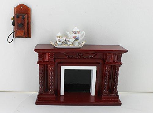 Preisvergleich Produktbild Kamin, Wandtelefon und Tablett mit Kaffeeservice für zwei