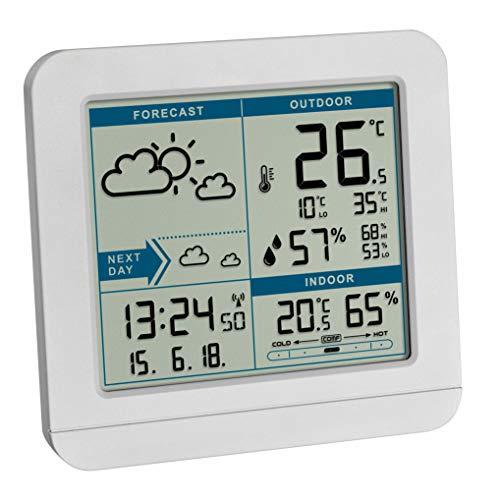 TFA Dostmann SKY Funk-Wetterstation, 35.1152.02,Wetterstation Funk mit Außensensor, Wettervorhersage, Funkuhr, innen und außen