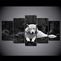 Liuuroc HD Mur Art Moderne Affiche Photo Décor À La Maison 5 Panneau Animal Wolf Salon Impression sur Toile Cuadros Modulaire Peinturetoile Intissee Decoration Murale Photo Image Artistique Impr