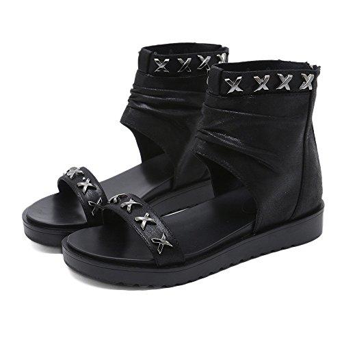 Hip-Hop-Stil Nieten Cool Girl Sandalen Damen Wanderschuhe Gemütlich (Color : Black, Size : 35) -