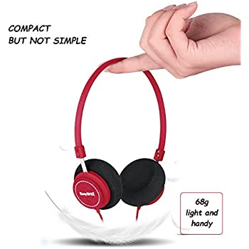 EasySMX M110 Lightweight On-Ear Music Headphone Stylish Fabric Design In-line with Microphone for PC/Smartphones/Tablet/MP4/MP3/PS4 (Red)