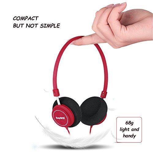 EasySMX M110 Leichte On-Ear-Musik Kopfhörer Stylish Fabric Design Inline mit Mikrofon und Lautstärkeregler für PC / Smartphones / MP4 / MP3 3.5mm Stecker (Rot)