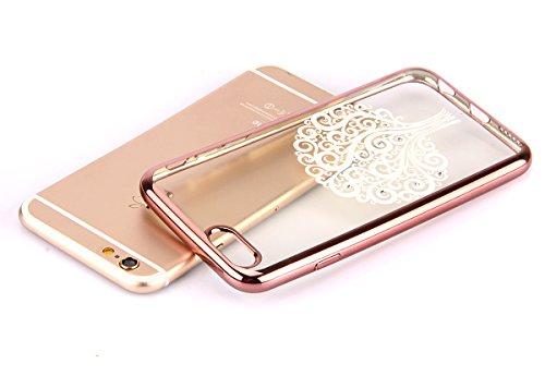 iPhone 6/6S plus 5.5 Custodia,Ukayfe Premium Transparent Dipinto Chiaro Case Cover Bumper Copertina Morbido in Silicone Gel e TPU pelle,Trasparente Ultrasottile 3D Fashion Fiore Paesaggio Case Vernici rosa albero