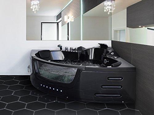Whirlpool Badewanne Mallorca SCHWARZ Mit 12 Massage Düsen + LED Unterwasser  Beleuchtung / Licht + Wasserfall Eckwanne Mit Glas Hot Tub Spa Indoor /  Innen ...