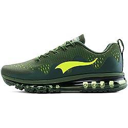 Onemix Zapatos para Correr Hombre Deportes Zapatillas de Running Sports Shoes New Wave Air Sneakers Verde / Oliva Size 42 EU