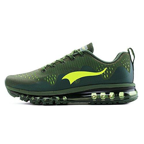 Onemix Air Scarpe da Ginnastica Corsa Basse Uomo Donna Sportive Running Sneakers, Verde, 40 EU