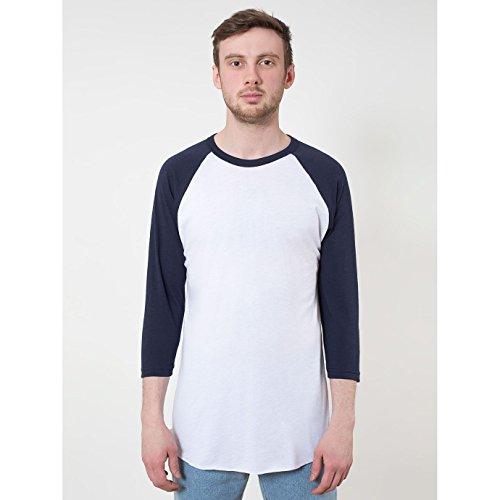 american-apparel-maglietta-con-maniche-a-contrasto-unisex-m-bianco-blu-navy