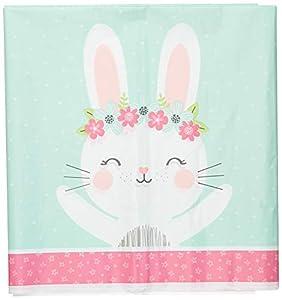 Creative Converting 336656 - Mantel, diseño de conejo, color rosa