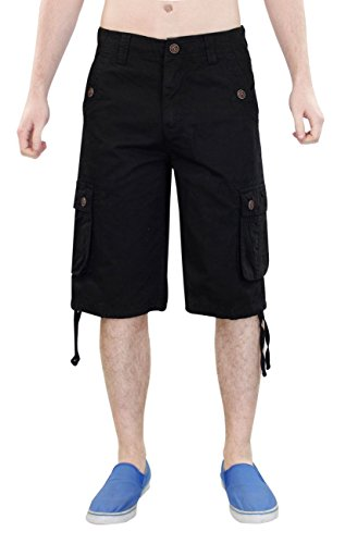 New Mens 100% Cotton Combat Cargo Button Pocket Work Zip Fly Shorts Casual Pants
