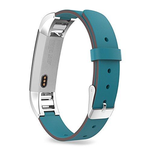 "Price comparison product image Fitbit Alta Accessory Band,  MoKo Premium Soft Genuine Leather Replacement Strap for Fitbit Alta / Fitbit Alta HR,  Fits 5.31""-8.07"" (135mm-205mm) Wrist,  Peacock BLUE"