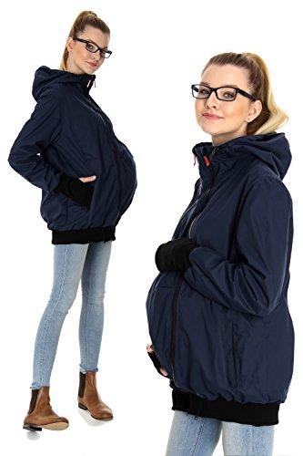GoFuture Damen Tragejacke für Mama und Baby mit 2 Tragepositionen 5in1 Känguru aus Concordia Shell und Baumwolle SommerAmMeer GF2066 Marine mit marineblauem Innenfutter