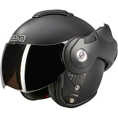BEON B702 Reverse Matt Schwarz mit Dunkles visier - Klapphelm - Motorrad helm - M