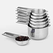 1Easylife 18/8 Measuring Cups Set Stainless Steel Kitchen Cups Baking Cooking, Set of 7 (Including 1/8 Cup Coffee Scoop) Nesting Cups with Engraved Measurement and Spout to Measure Dry and Liquid Ingredients