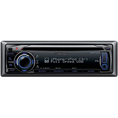 Kenwood Electronics KMR-440U sintonizador de CD/DVD para el coche - Radio para coche (87.9 - 107.9 MHz, 530 - 1700 kHz, 24 bit, Fluorescente, Negro, 50W x