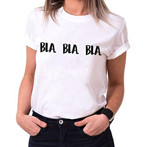 Bla Bla Bla Trendiges Damen T-Shirt Girlie Kurzarm Baumwolle mit Druck, Farbe:Weiß;Größe:L (Frauen Givenchy-t-shirt)