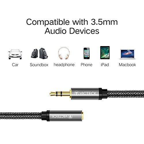 Klinke Verlängerung 1m, Victeck Nylon 3.5mm Stereo Klinken Audio Verlängerungskabel für AUX Eingänge Buchse Vergoldete Kontakte Kompatibel mit iPad,iPhone oder Smartphones,Tablets, Kopfhörer. - 4
