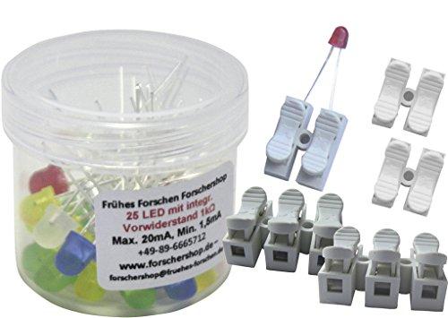 Preisvergleich Produktbild 25 LEDs bunt mit eingebautem Widerstand + 5 Press-Lüsterklemmen (2- und 3-fach) - einfache Handhabung