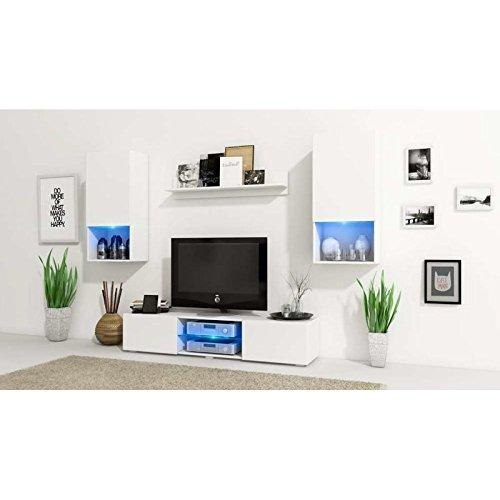 JUSThome Vero LED Wohnwand Anbauwand Schrankwand Weiß Matt - 2