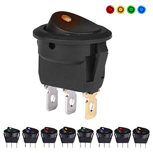 Mini interruptores de 12 V para coche, barco, camión, remolque, motocicleta, 8 unidades Características del producto:  SPST: ON-OFF  Clasificación: 12V / DC 20A  Iluminación: estilo DOT, luz LED de 12 V.  Diseño de 2 polos SPST (encendido/apagado) 3 ...
