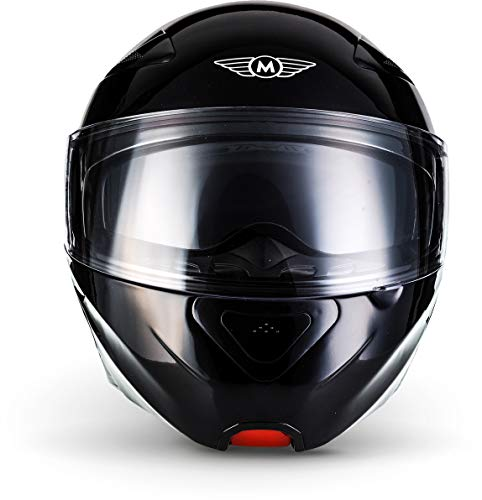 MOTO F19 Gloss Black · Roller-Helm Integral-Helm Helmet Cruiser Klapp-Helm Modular-Helm Motorrad-Helm Scooter-Helm Sturz-Helm Flip-Up-Helm · ECE zertifiziert · zwei Visiere · inkl. Stofftragetasche · Schwarz · L (59-60cm) - 6
