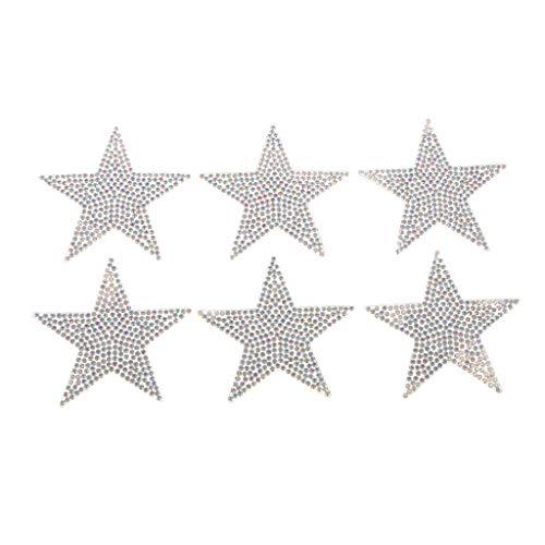 perfk 6stk Sternapplikation zum Aufbügeln, 6 cm Bunte Strass Glitzer Sterne Aufnäher Patches Bügelbilder Aufbügler Applikation zum aufbügeln