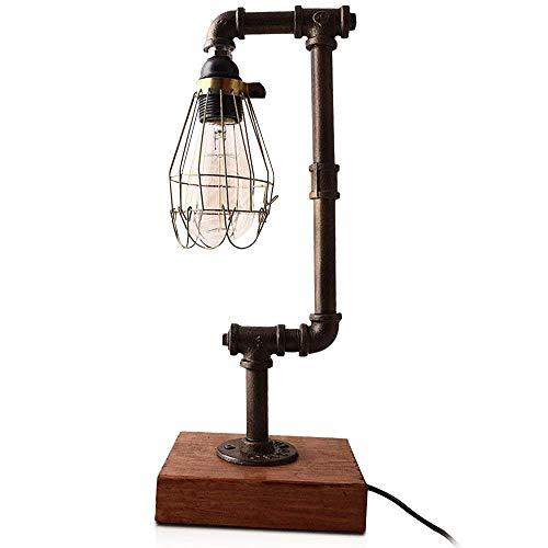 NIUYAO Lámpara de Mesa Forma Tubo Jaula Metal Vintage Lámparas de Escritorio Estilo Loft Industrial Retro 1 Luz-Negro