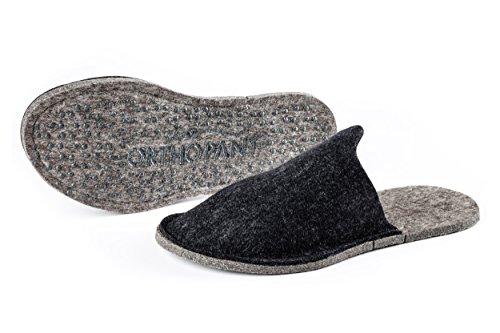 Orthopant pantoufles en feutre pour invités, unisexe, fermé au talon, respirant, antidérapant - 100 % pure feutre de laine pour une chaleur agréable - Fait main du Tyrol du Sud Anthracite