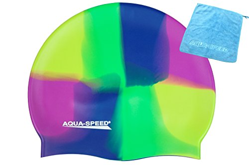 Aqua Speed® Set - BUNT Badekappe + Kleines Mikrofaser Handtuch | Silikon | Bademütze | Badehaube | Schwimmhaube | Erwachsene | Damen | Herren | Kinder, Kappen Designs:25. Bunt / 73