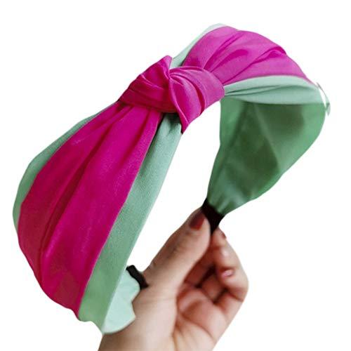 chenpaif Bohemian Women Girls Wide Headband Sweet Macaron Candy Hair Hoop Fluorescent Color Block Handmade Bowknot Summer Party Headwear F Rose Red+Green Block Headwear