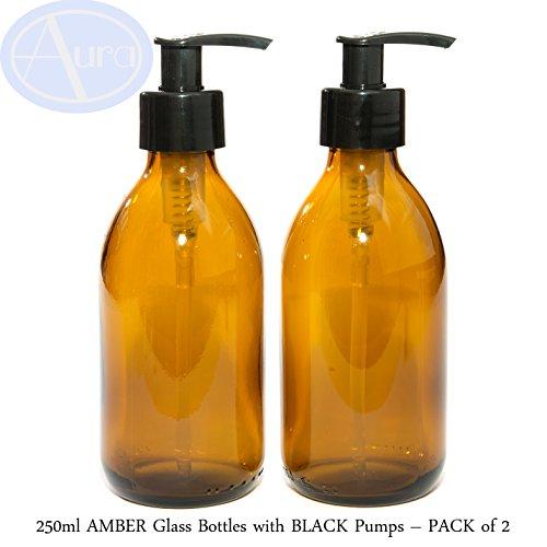 Lot de 2 bouteilles en verre de couleur ambre - Avec pompe noire - 250 ml