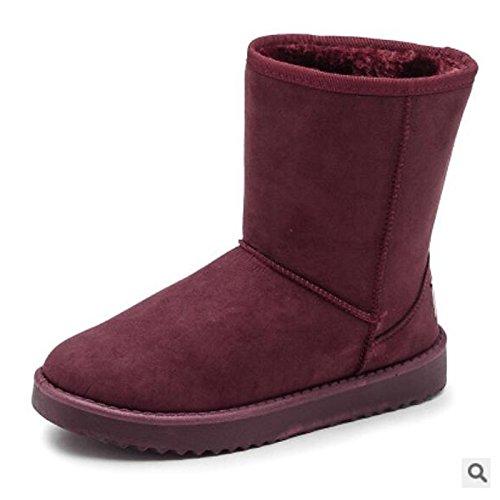 HSXZ Scarpe donna pu Autunno Inverno Comfort stivali Flat Round Toe stivaletti/stivaletti di abbigliamento casual Kaki Blu Marrone Rosso Nero Brown