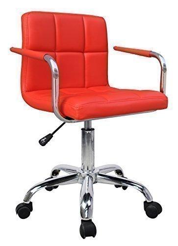 HNNHOME Chaise Design Moderne Pivotant Simili Cuir Bureau Neuf - Rouge