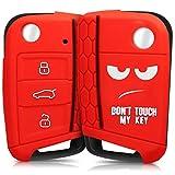 kwmobile Funda para Llave de 3 Botones para Coche VW Golf 7 MK7 - Carcasa Protectora [Suave] de [Silicona] - Case de Mando de Auto con diseño Don't Touch my Key