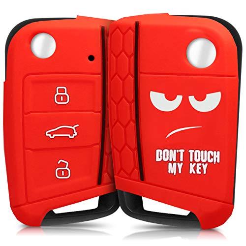 kwmobile Autoschlüssel Hülle für VW Golf 7 MK7 - Silikon Schutzhülle Schlüsselhülle Cover für VW Golf 7 MK7 3-Tasten Autoschlüssel Don\'t Touch My Key Design Weiß Rot