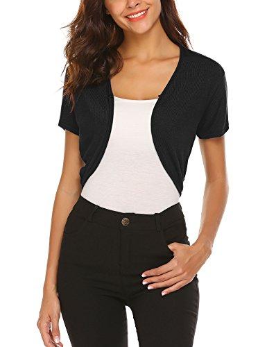 Unibelle Damen Bolero Kurz Cardigan Strickjacke Kurzarm Bolero Top Schulterjacke Shrug Top Schwarz XL (Jacke Kleid Jeans)