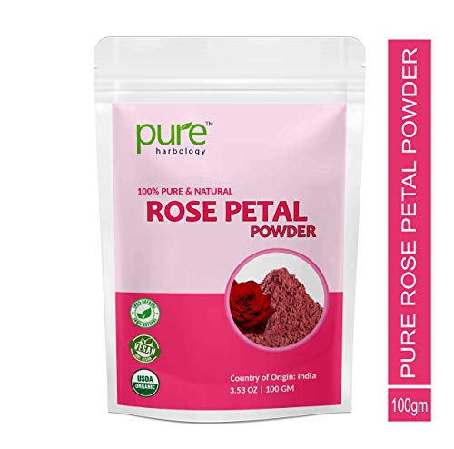 Pure Herbology Pure and Natural Double Filtered Rose Petal Powder For Skin, Face Pack Mask for Fairness, Tanning & Glowing Skin - 100gm