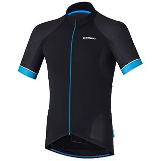 SHIMANO Textil Maillot m/c SH M Escape Neg/AZU t-m–Trikot, Kurzarm, schwarz–(schwarz/blau)