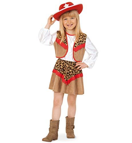 Cowgirl Kate Kinder Kostüm Mädchen Kleid Gr 128 (Cowgirl Kinder Kleid)