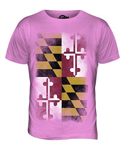 CandyMix Bundesstaat Maryland Verblichen Flagge Herren T Shirt Rosa