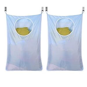 BESTOMZ Wäschesack, zum Aufhängen, Oxford-Gewebe, Aufbewahrungstasche, für Schrank, Schlafzimmer, Badezimmer, Himmelblau, 2 Stück